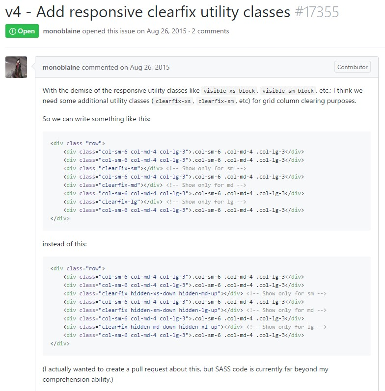 Bootstrap v4 -  Bring in responsive clearfix utility classes