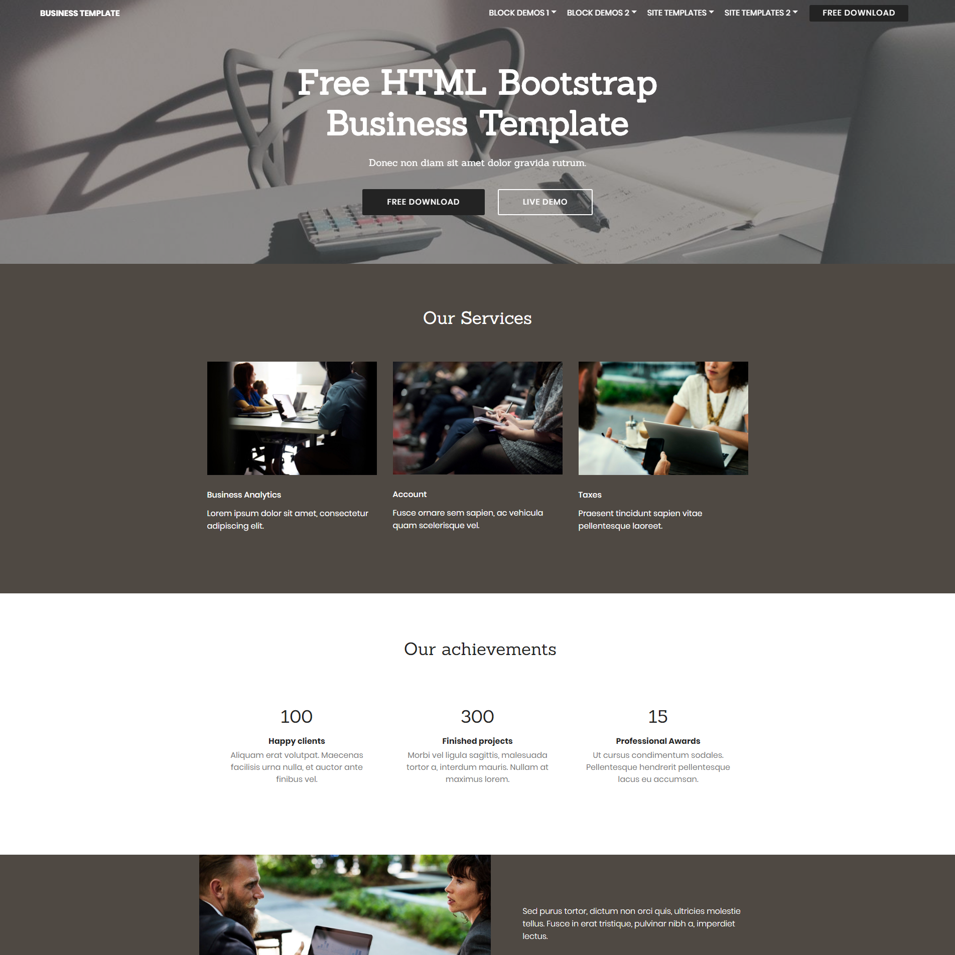 HTML Bootstrap Busines Templates